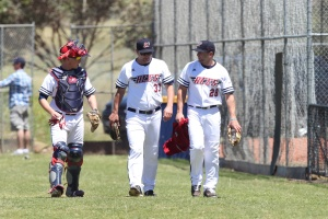 Liam Bedford, Elliott Biddle and Kevin Reese of the Melbourne Aces (Brett Crockford / SMP Images)