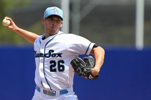 Hard-throwing reliever Caleb Cuevas is looking to make his impression on MLB scouts while working out of the Sydney Blue Sox bullpen. (Photo by Joe Vella /SMP Images)