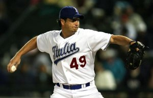 Jason Grilli pitching for Team Italia in the 2006 World Baseball Classic.