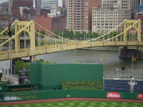 The Roberto Clemente Bridge leads Grilli and Pirates fans to PNC Park in downtown Pittsburgh.