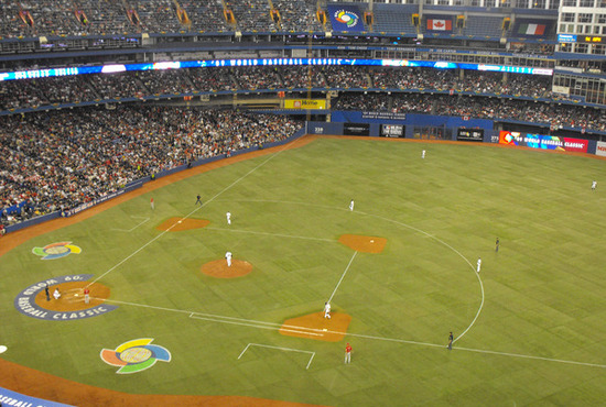 Birds eye view of the Italy and Canada 2009 WBC game at Toronto's Roger Centre.