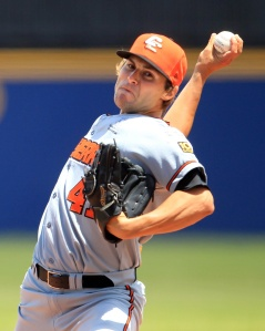 #10 Brian Grening pitching for Team World  in the 2012 ABL All-Star Game at Melbourne's Altona Stadium. (Scott Powick / SMP Images)