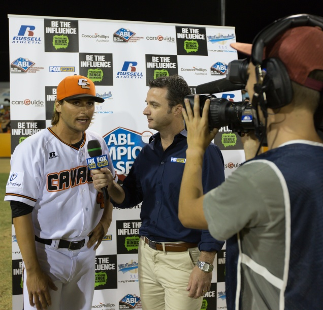 #10 Brian Grening of the Canberra Cavalry was interviewed by Fox Sports after game 1 of the ABL Championships Series. (Ben Southall / SMP Images)