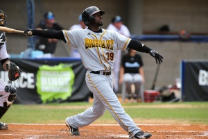 C.J. Beatty hit his sixth homer of the season in final ABL game on January 26, 2013 at Blue Sox Stadium.
