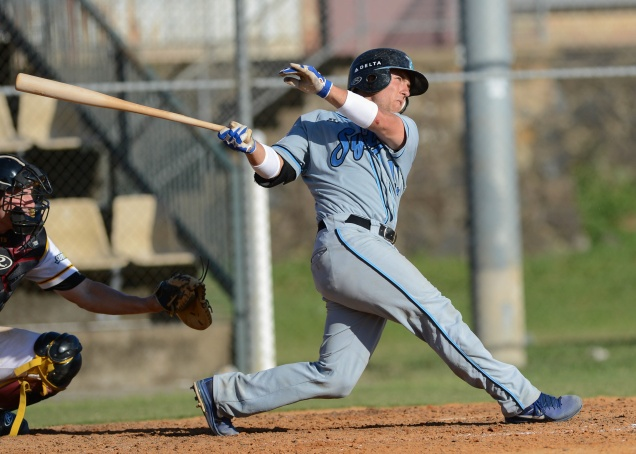 #9 James Robbins of the Sydney Blue Sox (Photo courtesy of Steve Bell / SMP Images / ABL)