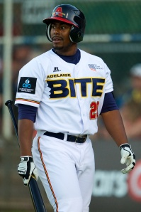 Cleveland Indians prospect Quincy Latimore in 2013 ABL action (Ryan Schembri / SMP Images)