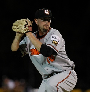 #32 Sean Toler, closer for the Canberra Cavalry (photo by Theron Kirkman / SMP Images / ABL)