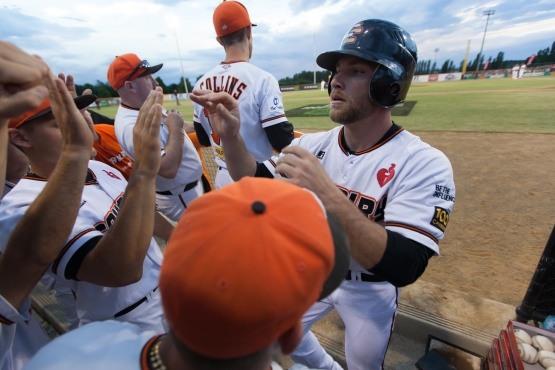 #5 Ryan Stovall of the Canberra Cavalry being congratulated by teammates after hitting a home run in ABL Championship Game 2 against the Perth Heat.  (Ben Southall / SMP Images)