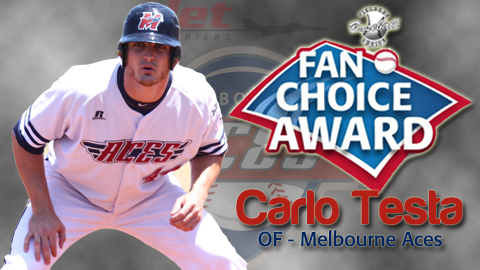 #12 Carlos Testa of the Melbourne Aces was voted by the public as the recipient of the second annual ABL Fan Choice Award. Italy's Alex Maestri won in 2012.