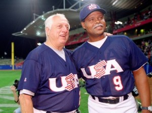 Coaches  Tommy Lasorda and Reggie Smith led Team USA  to the gold after beating Cuba in the Sydney 2000 Olympic Games.