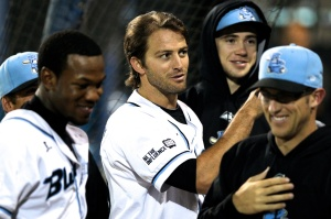 #20 Zach Penprase with Blue Sox teammates (Joe Vella / SMP Images)
