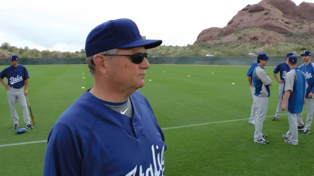 Team Italy pitching coach Bill Holmberg was previously an international  scout for the Chicago Cubs and currently is the director of the Italian MLB Academy. (Photo by Michele Gallerani/FIBS)
