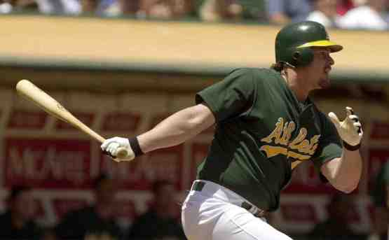 "Italian American Jason ""Giambino"" Giambi was the only A's hitter to get on base versus Alex Maestri."