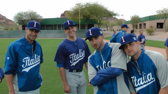 Alessandro Maestri with Italian teammates Pat Venditte, Luca Panerati and Alessandro Vaglio.  (Photo by Michele Gallerani/FIBS)