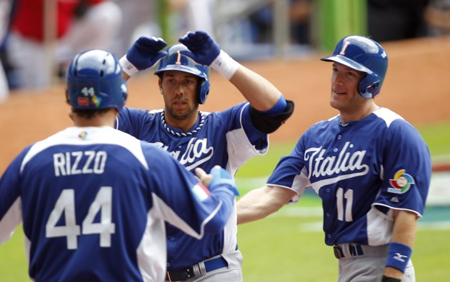 Team Italia's Anthony Rizzo, Chris Colabello and Chris Denorfia