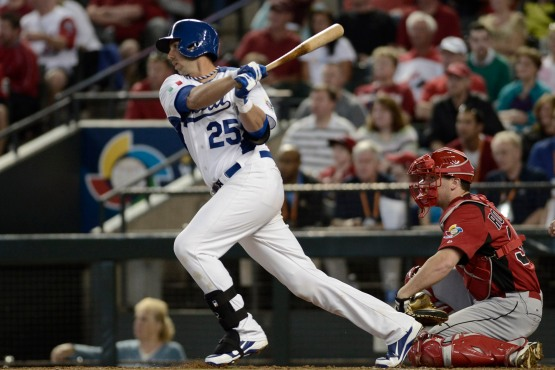 Chris Colabello crushed the ball against Team Canada in the 2013 World Baseball Classic.