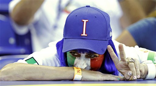 Alex Liddi's mother, Flavia, during the second-round elimination game of the World Baseball Classic against Puerto Rico in Miami, Wednesday, March 13, 2013.