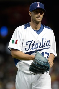 Team Italia pitcher Alex Maestri has been a close friend to Colabello since their youth baseball days together in Italy.