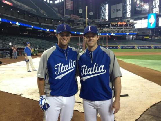 Team Italy catcher Drew Butera and coach Frank Catalanotto