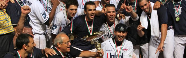 Pictured here winning the 2012 European Cup, Unipol Bologna has won back-to-back European titles.