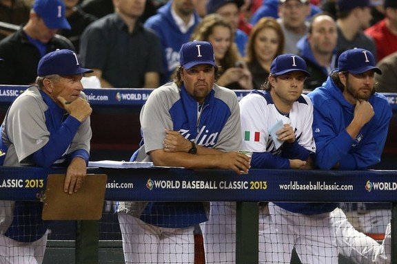 Bill Holmberg, Mike Piazza, Frank Catalanotto and Jason Grilli at Chase Field on March 9, 2013.