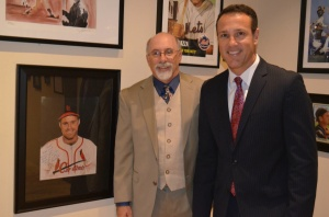 Christopher Paluso and CBS News Anchor Carlo Cecchetto at the Grand Opening of Artists' Tribute to Italian Americans in Baseball