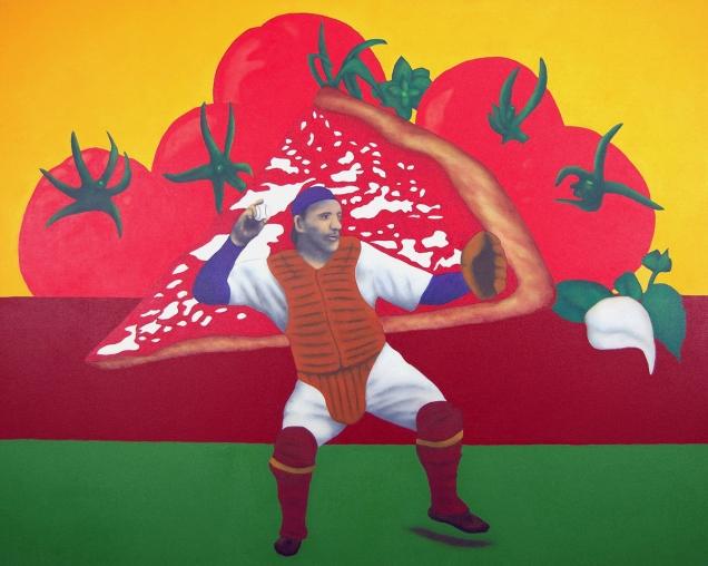 """Vincent Scilla's """"Pizza Lombardi"""" pays tribute to Italian American legend Ernie Lomabardi."""