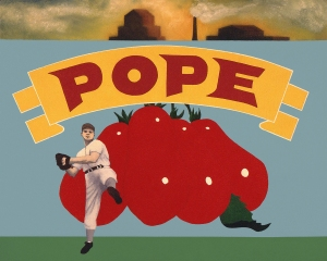 "Vincent Scila's ""Pope"" is featured in the Artists' Tribute to Italian Americans in Baseball Exhibit."