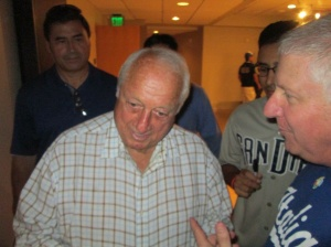 Legendary Baseball Hall of Famer Tommy Lasorda in San Diego celebrating his 86th birthday and the grand opening of Artists' Tribute to Italian Americans in Baseball.