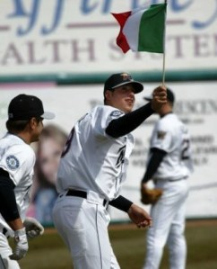 Alex Liddi carrying the Italian flag while ascending up the MLB ranks in 2008