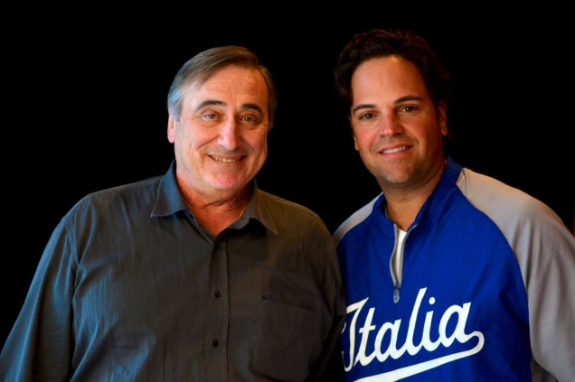 Italian Americans Sal Varriale and Mike Piazza at the 29th Annual Italian Coaches Convention in January 2014.