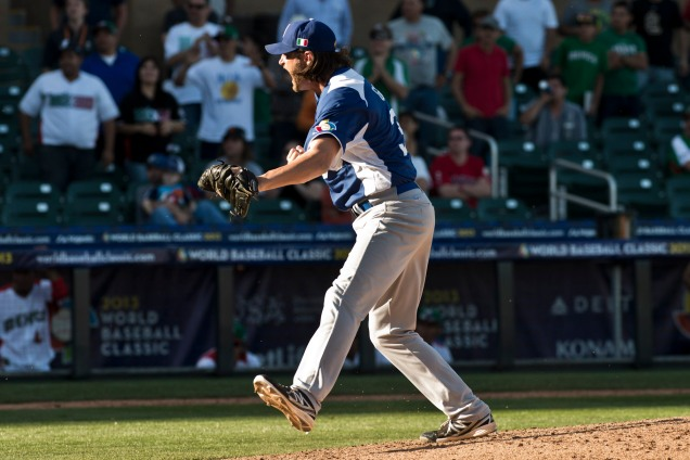 Jason Grilli shuts the door and gets the save for Team Italia against Mexico in the 2013 WBC. (Photo courtesy of FIBS)