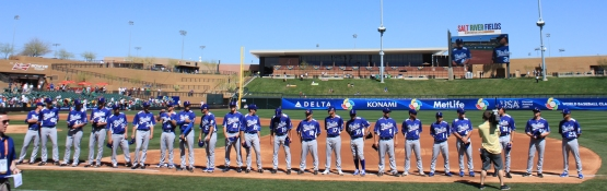 Team Italia being introduced prior to their stunning upset over Mexico at the 2013 World Baseball Classic in Scottsdale, Arizona.