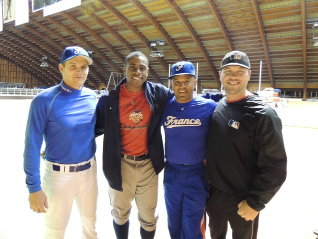 Curtis Granderson (third from the right) and Andy Bergund (far right)