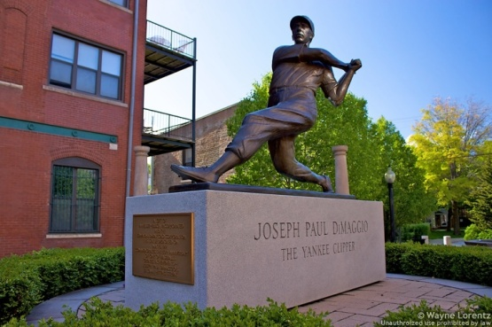 Joe DiMaggio statue at Piazza DiMaggio in Chicago's Little Italy.