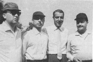 Joe DiMaggio poses during his visit to Nettuno in 1953.