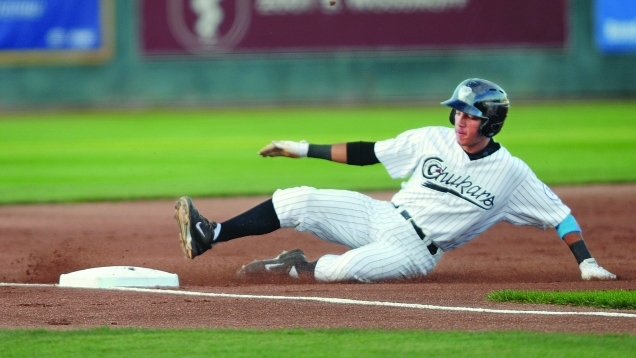 Marten Gasparini went 3-for-3 with a three-run homer in the Rookie League Idaho Falls Chukars' 2014 finale.