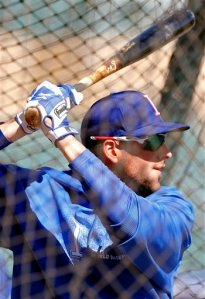 Alex Liddi takes batting practice prior to the 2013 Italy/Mexico World Baseball Classic game at Salt River Fields in Scottsdale, Arizona.