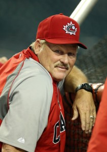 Team Canada manager  and former Toronto Blue Jay catcher Ernie Whitt