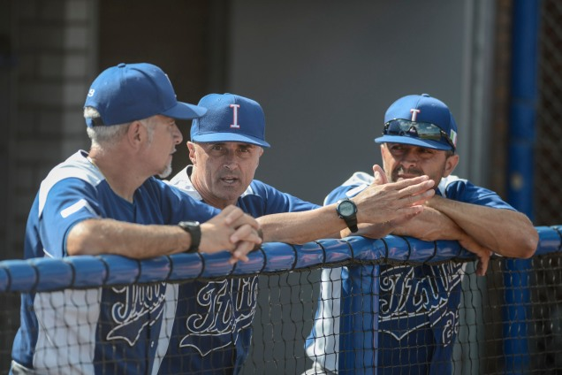 Team Italia manager Marco Mazzieri (center) with coaches Marco Nanni (left) and Alberto D'Auria (right) at the 2016 European Baseball Championship. (Photo courtesy of Ezio Ratti-FIBS)